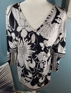 Trina Turk Black white Floral Midi Dress Size 4